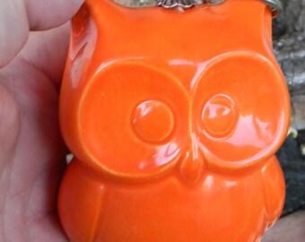Ceramic  Owl Statue in bright orange Owl Nursery decoration baby, home or garden statue cm