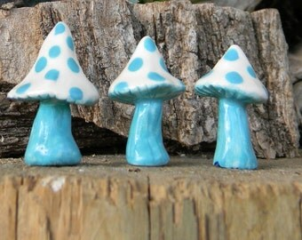 3 ceramic mushroom miniatures 3  Poison.. Pixie tops   terrarium or miniature gardens funky fungi Ready to ship turquoise