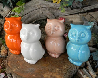 Owl Ceramic Statue glazed Barn Hoot owl Home and garden Safe Modern Chic style