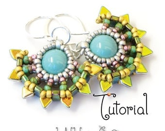 TUTORIAL Beaded Solstice Sun Earrings with Cubic Right Angle Weave