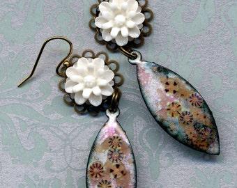Enamel Leaves Earrings, Pink and Beige Earrings, 18 K Gold Filled  Earrings, White and Gold  Leaves Earrings, Handmade by Annaart72
