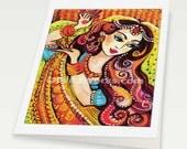 Indian bride art beautiful Indian woman painting feminine beauty wall decor, Indian greeting card, woman greeting card, blank art card, 6x8