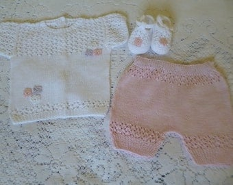 Baby Outfit,  Cotton  Newborn Set, Knitted Cotton Set,   Newborn 6/7 Pounds,  Summer Baby Set. Baby Shower Gift.