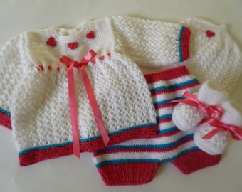 Knit Baby  Outfit,   Newborn  Ensemble,  Reduced Price Coming Home  Set, Baby Suit,  0 to 3 Months Antiallergic  Yarn
