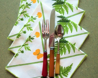 Vintage Vera Napkins, Vera Neumann, Fern and Flower Napkins, Set of Four, Cloth Serviettes, Cloth Napkins, 1970s Vera Napkins, 1970s Napkins