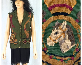 Vintage Horse Themed Sweater Vest. Horse Racing. Hunter Green. Red. Golden. Size Medium. Traditional Tradings. 1980s. Kitsch. Under 20