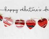 "SALE Kit Valentine Heart Banner - Shabby Chic Banner 60"" Long 8 hearts"
