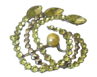 Vintage Green Swirl Brooch