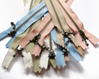 "YKK Metal Zippers in Assorted colors for 10 / YKK Antique Brass Zippers (closed-end) - 4"" 5"" 6"" Inch"
