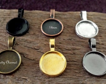 20 Small Pendant Tray Blank Charms 14mm Mix Match 6 Colors