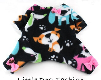 Dog Pajamas, Fleece, Multi Colored pups