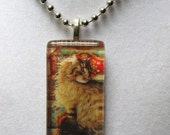 Maine Coon Cat Glass Pendant Necklace - Lesley Anne Ivory Art