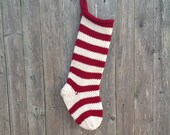 Personalized Knit Red & Cream Wool Striped Christmas Stocking, Christmas Sock, Striped Stocking, Heirloom Christmas, Seasonal Home Decor