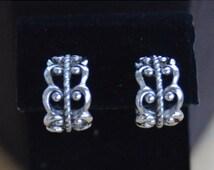 "On Sale Pretty Vintage Filigree Hoop Clip Earrings, Silver tone, ""Avon"" (H2)"