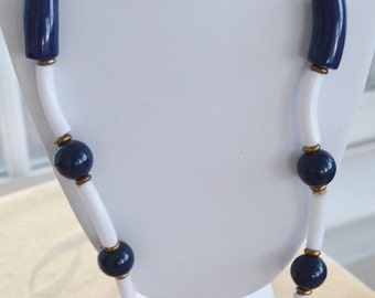 On Sale Pretty Vintage Long Navy Blue, White Plastic Necklace, 36""