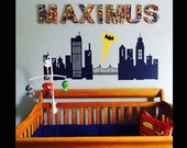 Gotham City Wall Decal- Superhero Room decor - Vinyl Sticker Cityscape - Batman Bedroom - Sticker - Removable - Made in USA