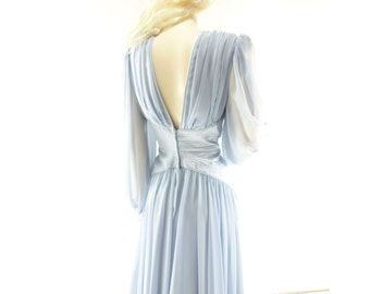 Baby Blue 80s Dress, Vintage Party Dress, Designer Chiffon, 1980s Ruched Dress, 80s Light Blue Dress, 1980s Vintage Dress, Small