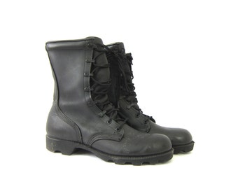 vintage leather combat boots black men's Army work boots tall lace up chunky goth boots men's size 8 Regular
