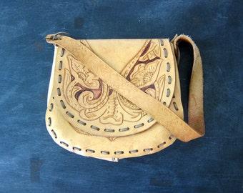 60s tooled leather purse with flowers shoulder purse shoulder strap purse floral bag boho hippie 1960s Southwestern Leather