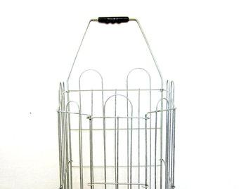 Vintage gray metal shopping market cart on wheels // perfect for flea markets / farmer's market basket