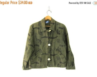 Army Green Jacket Coat Southwestern Vintage Leaf Print cotton Earthy Natural Blazer women's Printed coat Women's Size Medium