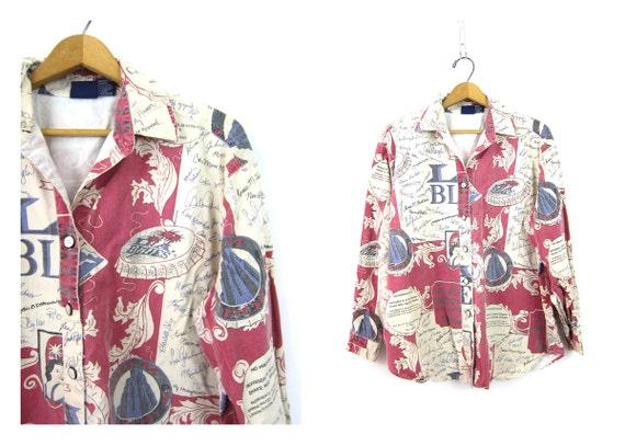 LA Blues Print Shirt button up Cotton Collar shirt Graphic Retro Pink Purple shirt Autographs Writing Shirt Women's SIze Large