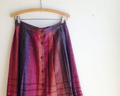 VINTAGE HOLIDAY SALE 1970s Vintage Wool Striped Pleated School Girl Purples Skirt