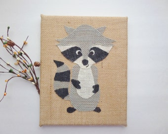 Burlap woodland animals sign, 8X10 inch Raccoon sign, Raccoon wall decor, Rustic sign, Woodland nursery decor, Raccoon sign, Forest animals
