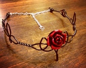 Celtic ROSE Trinity Circlet - Choose Your Own COLOR - Elven Crown Tiara Headdress Bridal Gothic