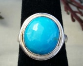 Arizona Turquoise Sterling silver ring solitaire, ring size 6.5, ready to ship, girls ring, ladies ring, dinner ring,