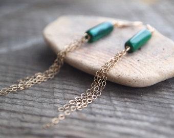 Malachite Tassle Earrings