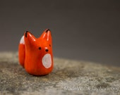 Little Orange Fox - Hand Sculpted Miniature Polymer Clay Animal Miniature Figurine