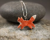 NEW Little Porcelain Fox Sterling Silver Necklace - Miniature Tiny Ceramic Animal Nature Handmade Jewelry