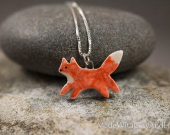 Little Porcelain Fox Sterling Silver Necklace - Miniature Tiny Ceramic Animal Nature Handmade Jewelry