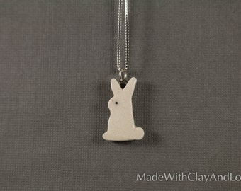 Little Porcelain Bunny Sterling Silver Necklace - Miniature Tiny Ceramic Animal Nature Handmade Jewelry
