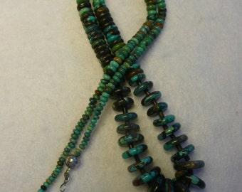Southwestern Style Turquoise Heishi and Squash Bench Bead Graduated Necklace