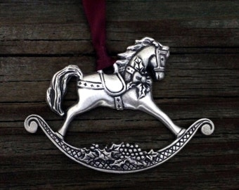 Rocking Horse Pewter Christmas Ornament