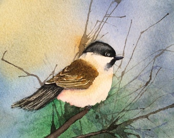 Chickadee, archival watercolor print, matted, ready to frame, 8x10, signed