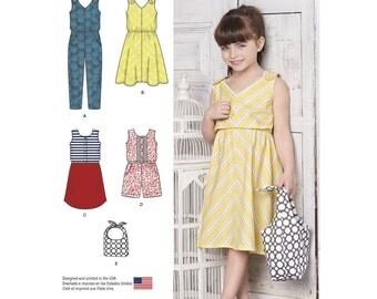 GIRLS CLOTHES PATTERN / Summer Dress / Short or Long Jumpsuit / Purse / Sizes 3 - 8