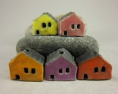 5 Saggar Fired Miniature House Beads...Lemon Pink Yellow Purple Pumpkin Orange