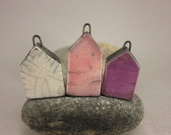 Less Is More...Minimalist House Pendant / Focal Bead / Ornament...Set of 3...White Pink Purple