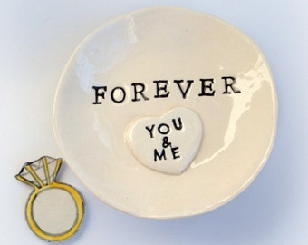 Couples ring dish engagement gift personalized ring holder handmade by Cathie Carlson