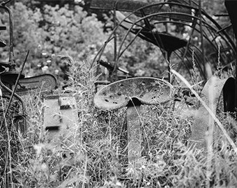 Black and White Photography // Farm Photograph // Farmhouse Decor // Fine Art Print // Rust Photo // New England Print // Rustic Home Decor