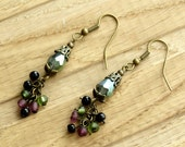 Green Iridescent Faceted Crystal - Purple Black - Dangle Earrings - Antique Bronze