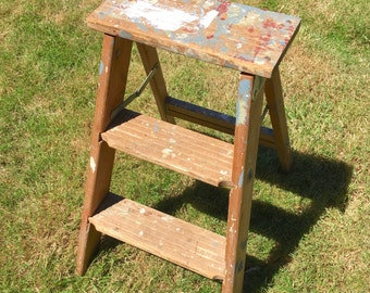 Old Wooden Folding Ladder Natural Step Stool with Silver Metal Paint Splatters