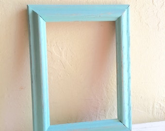 farmhouse style 5x7 turquoise blue wooden picture frames wood aqua distressed wall hanging