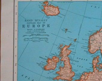 Vintage Europe Map, 1940s original Old Atlas Map
