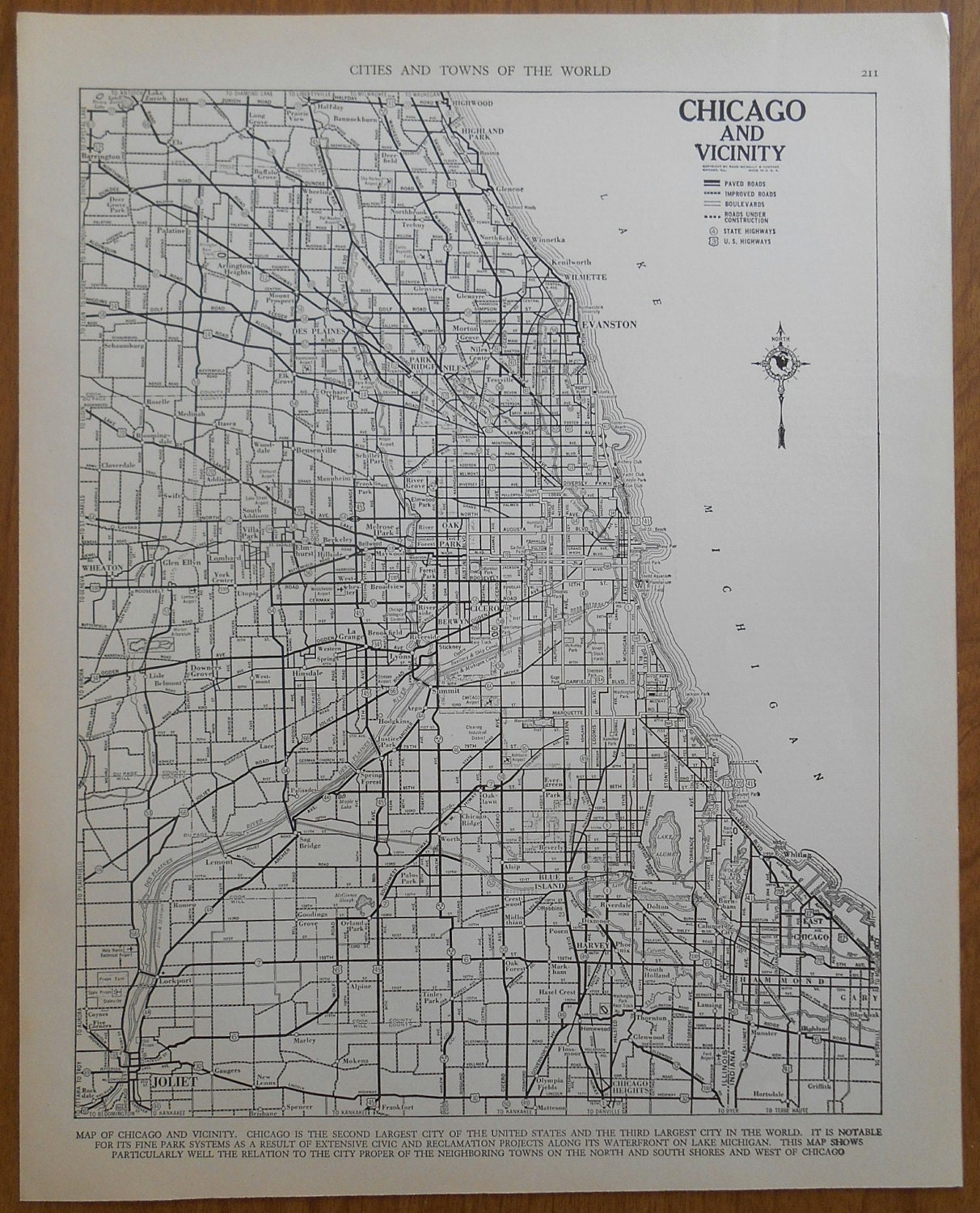 Vintage Chicago Street Map 1930s City Map By Moosehornvintage