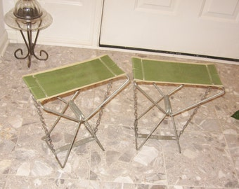 2 Vintage Camping Stools Metal Folding Canvas