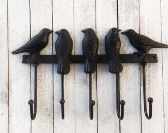 Bird Cast Iron Wall Hook, Iron Wall Decor, Anthropologie Style, Birds, Gifts